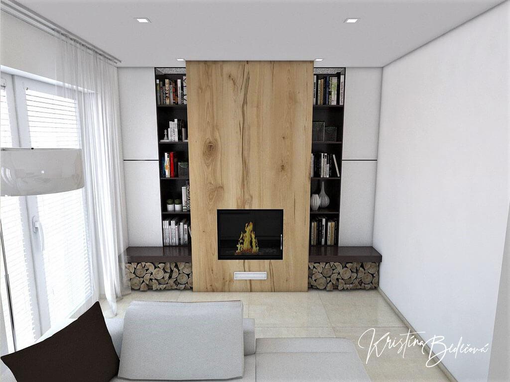 Návrh interiéru obývačky Úzka ale praktická, pohľad na krb