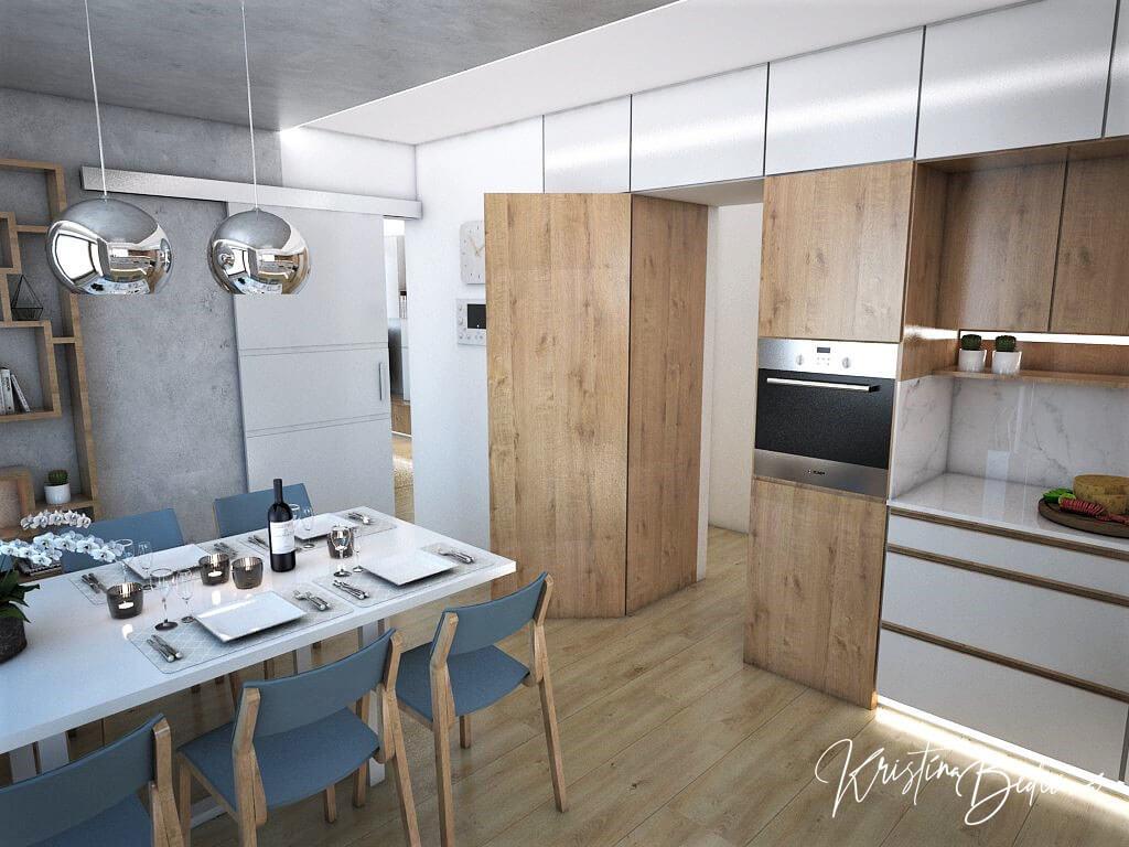 Návrh kuchyne Svet vôní, pohľad na vchod do kuchyne