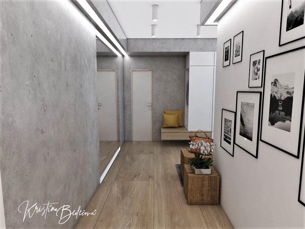 Návrh interiéru vstupnej chodby Vitajte, pohľad na prechodovú chodbu