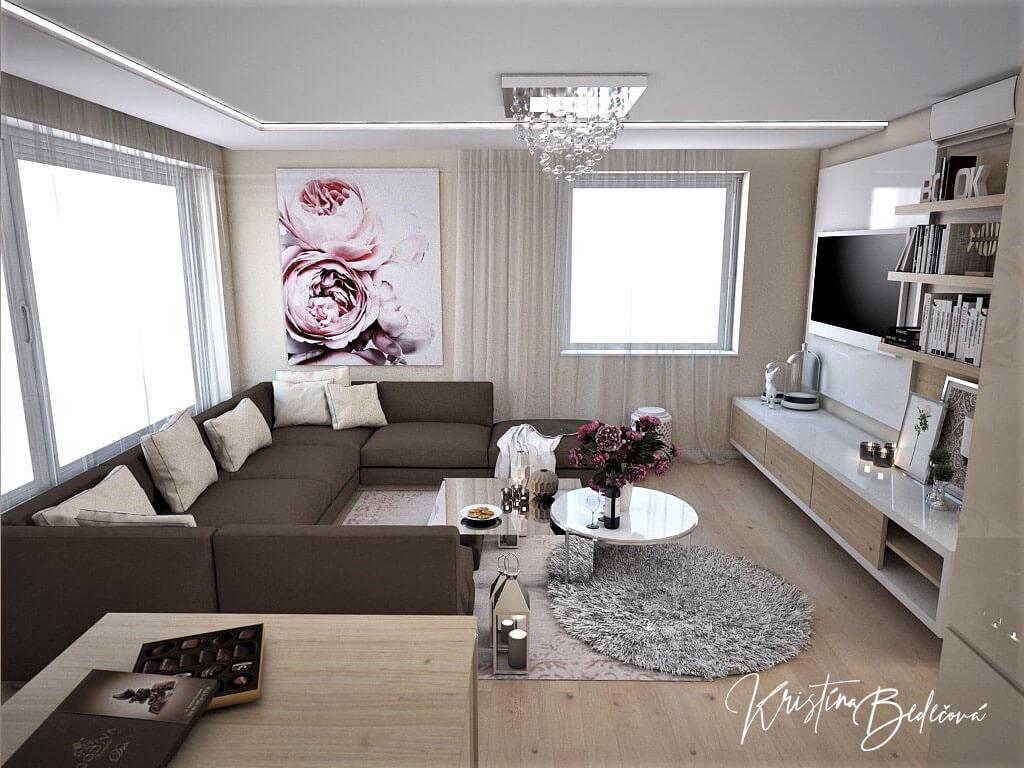 Návrh interiéru bytu Romantika v akcii, pohľad na sedačku v obývačke