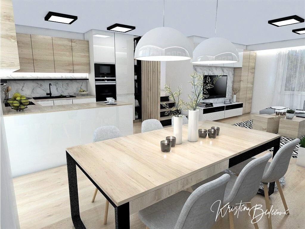 Interiérový návrh kuchyne s obývačkou Po schodoch, pohľad cez jedálenský stolík na schodisko