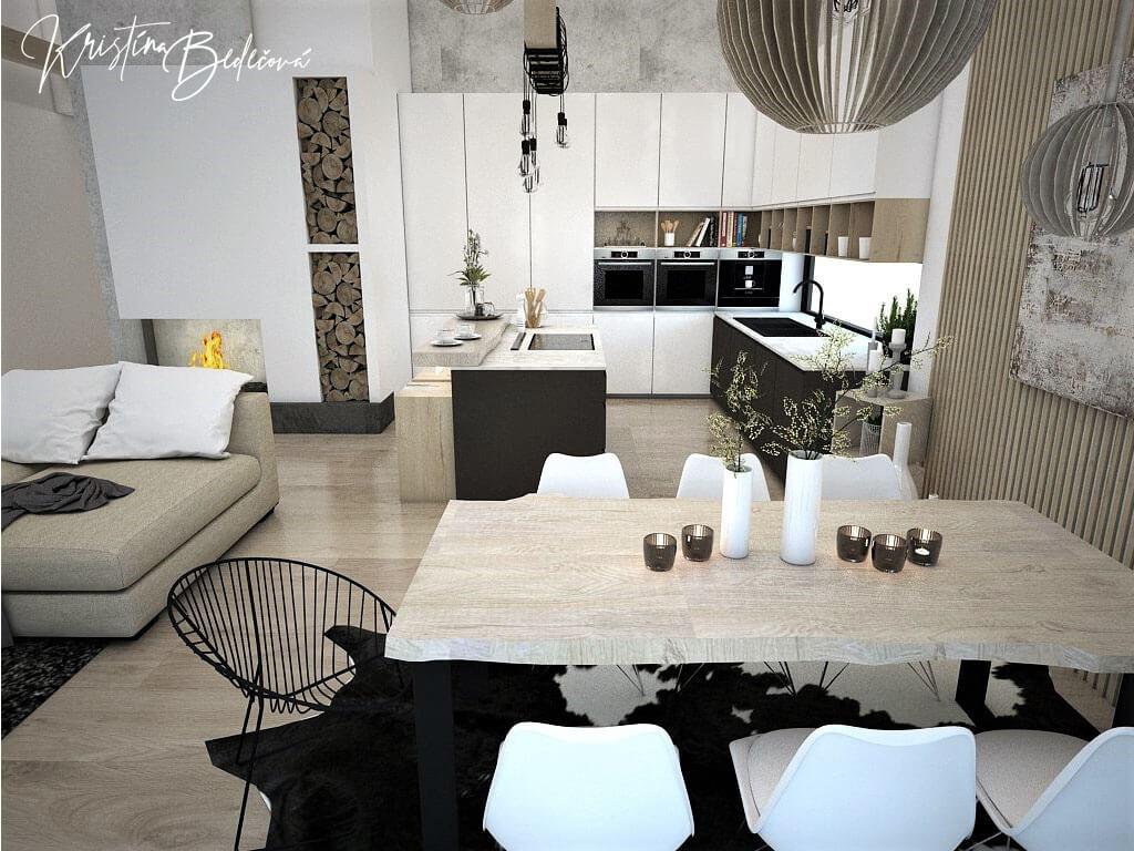 Návrh obývačky s kuchyňou Prírodné prvky v interiéri, pohľad na jedálenský stôl