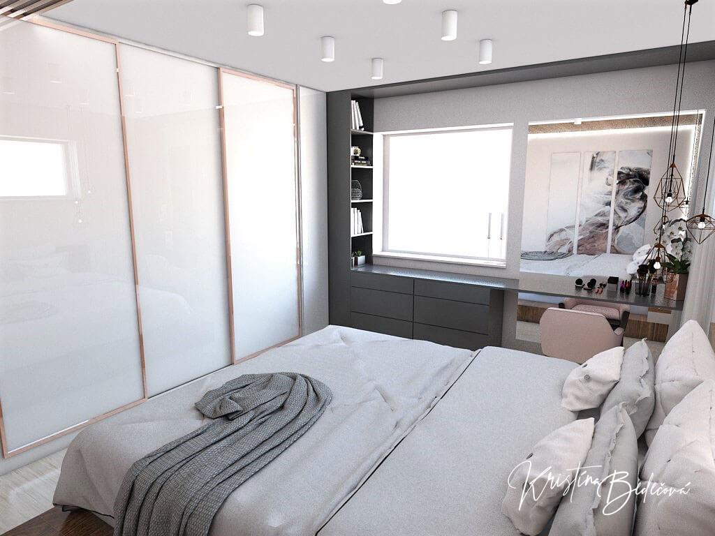 Návrh interiéru spálne Ružové pohladenie pohľad na šatníkovú skriňu a okno