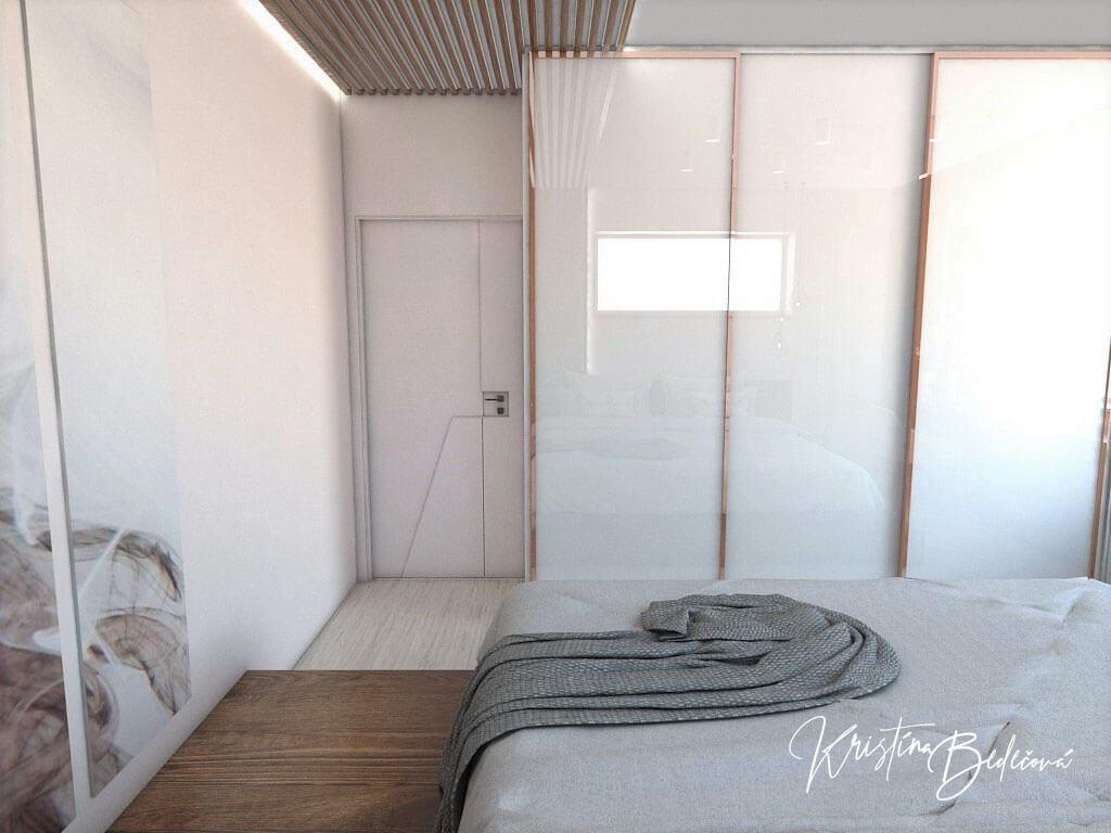 Návrh interiéru spálne Ružové pohladenie pohľad na vstup do spálne