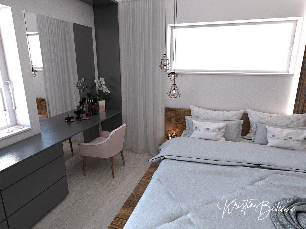 Návrh interiéru spálne Ružové pohladenie pohľad na kozmetický stolík