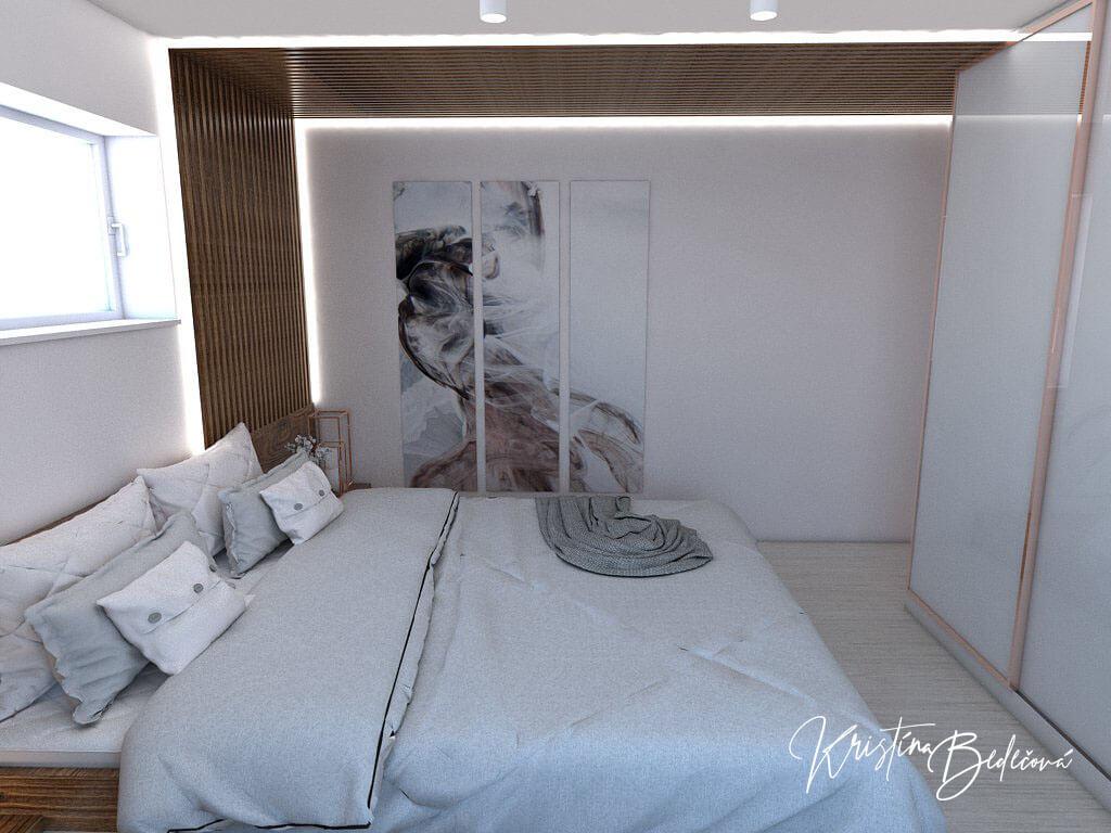 Návrh interiéru spálne Ružové pohladenie pohľad na obraz