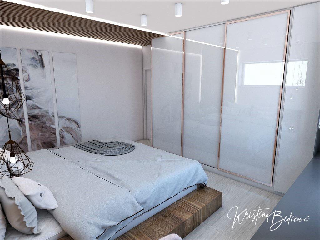 Návrh interiéru spálne Ružové pohladenie pohľad na šatníkovú skriňu