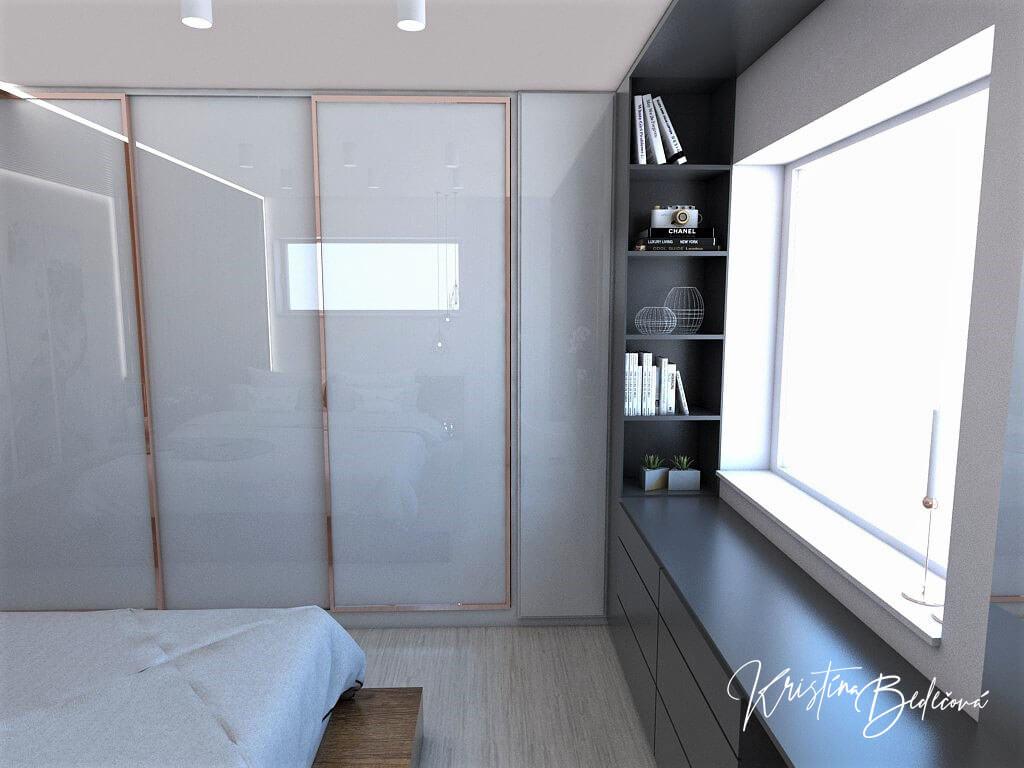 Návrh interiéru spálne Ružové pohladenie pohľad na šatníkovú skriňu poličky pod oknom