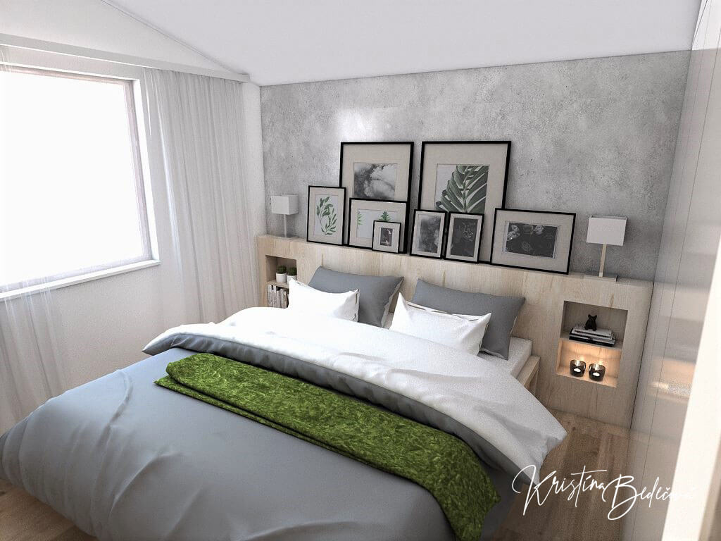Návrh interiéru spálne Zelené sny, pohľad na manželskú posteľ