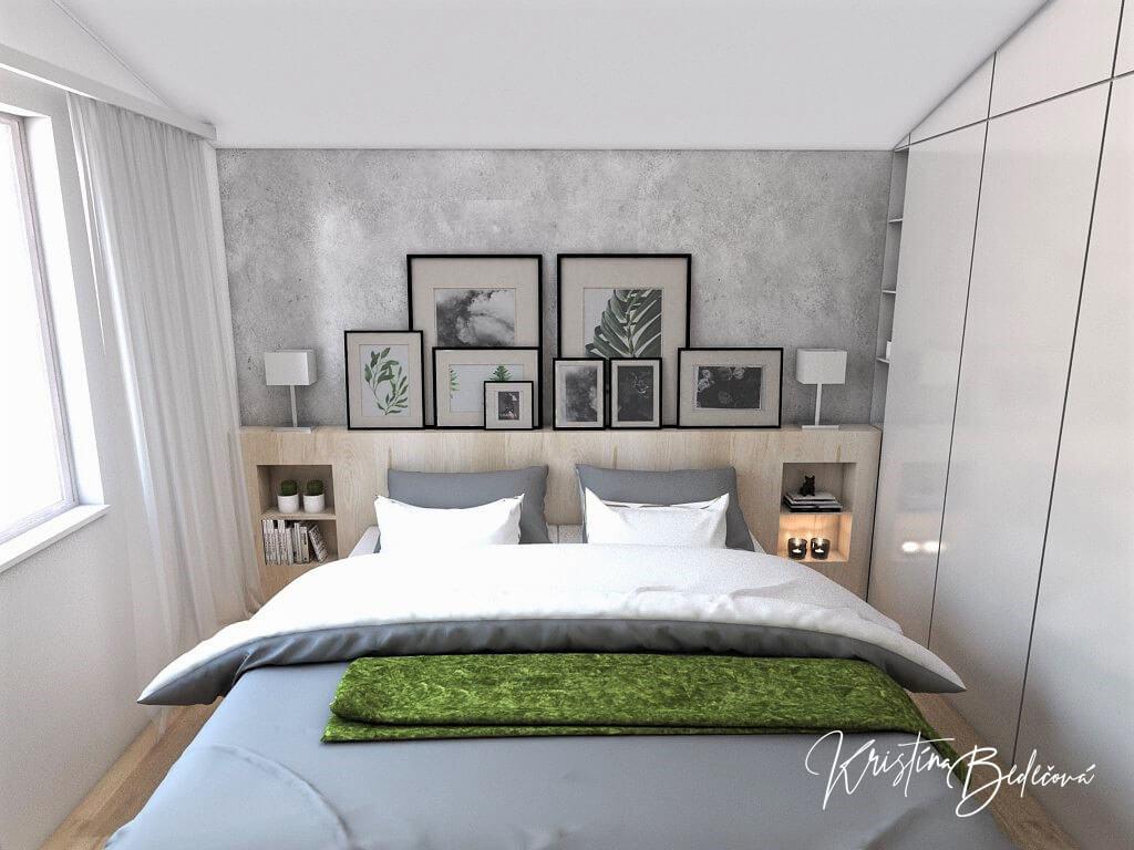 Návrh interiéru spálne Zelené sny, ďalší pohľad na manželskú posteľ