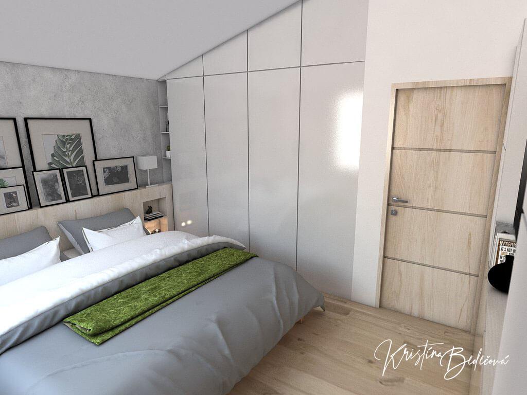 Návrh interiéru spálne Zelené sny, pohľad na šatníkovú skriňu
