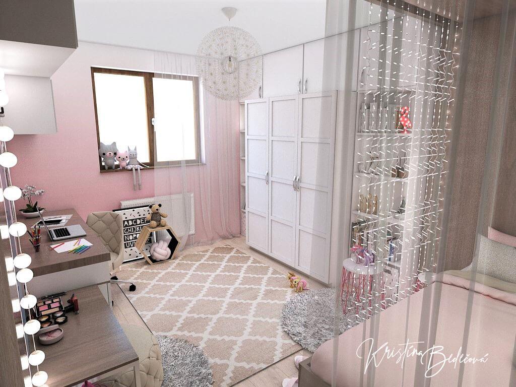Návrh detskej izby Ombre stenám pristane, pohľad od dverí