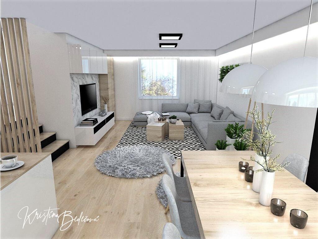 Interiérový návrh kuchyne s obývačkou Po schodoch, pohľad z kuchyne do obývačky