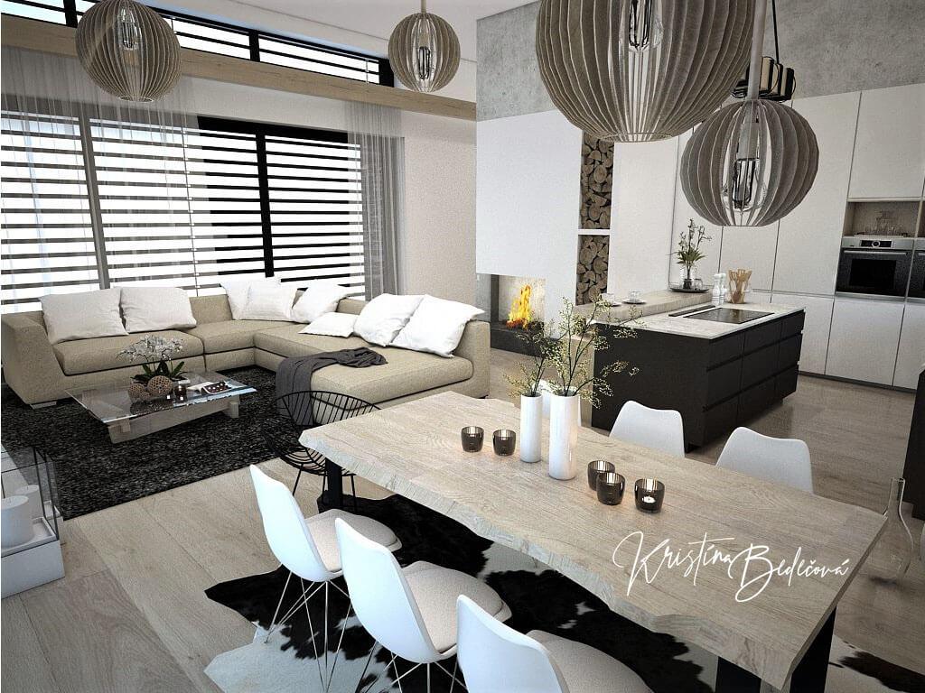 Návrh obývačky s kuchyňou Prírodné prvky v interiéri, pohľad cez jedálenský stôl na sedačku