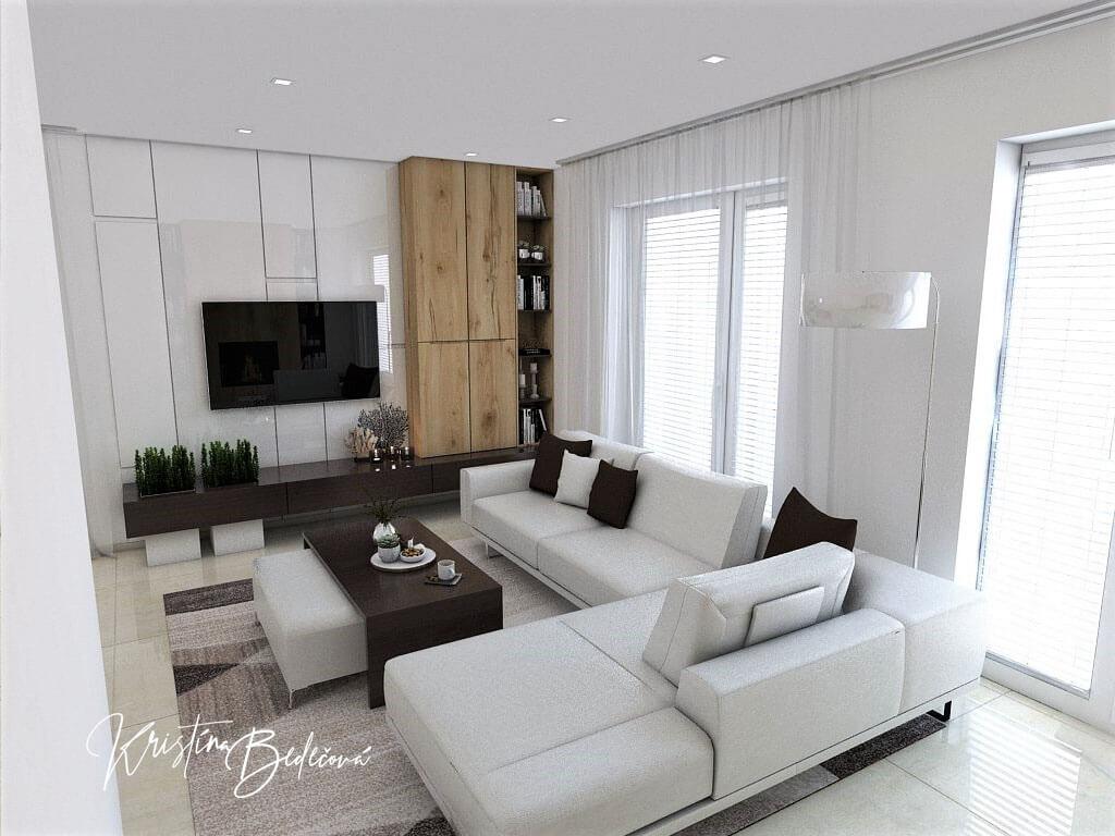 Návrh interiéru obývačky Úzka ale praktická, pohľad na obývačku