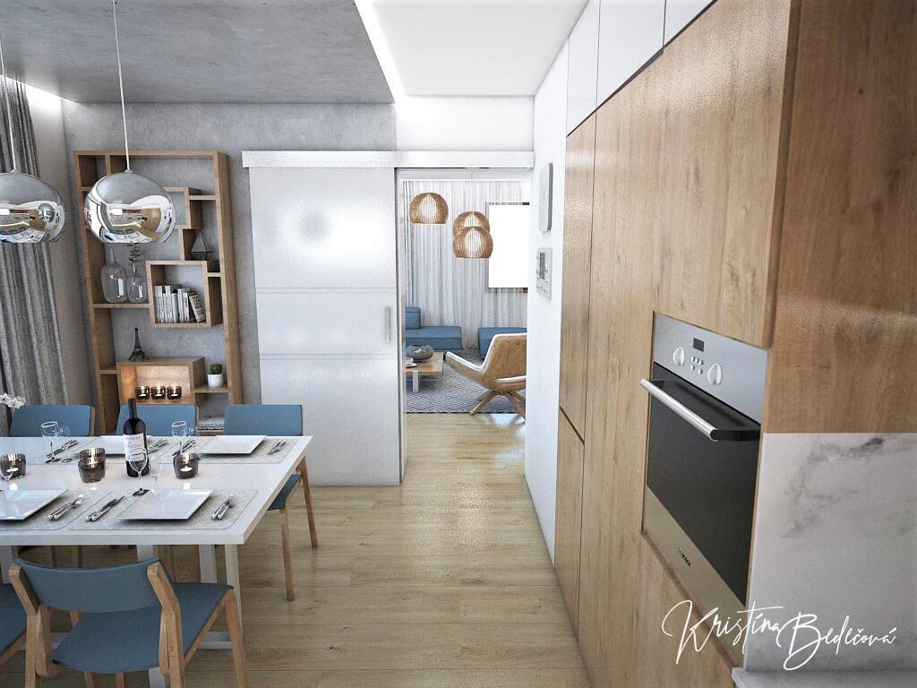 Návrh kuchyne Svet vôní, pohľad smerom do obývačky
