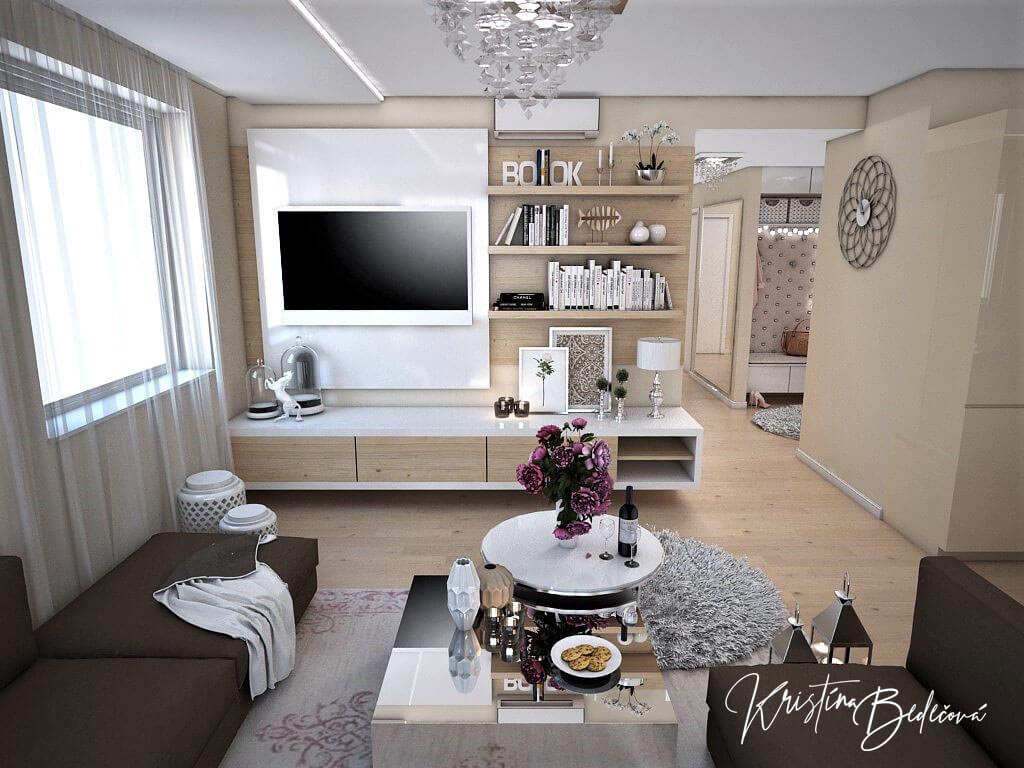 Návrh interiéru bytu Romantika v akcii, pohľad na TV v obývačke