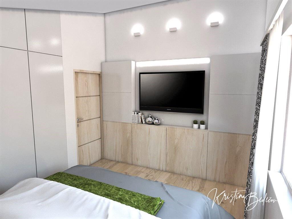 Návrh interiéru spálne Zelené sny, pohľad na televízor