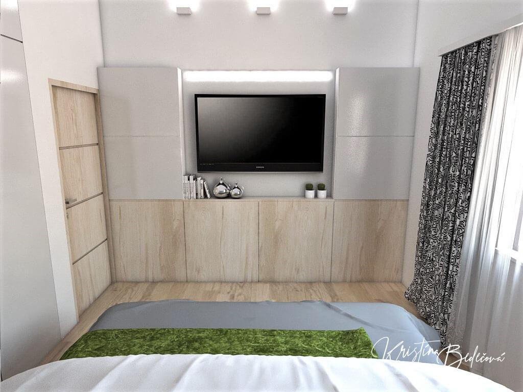 Návrh interiéru spálne Zelené sny, ďalší pohľad na televízor