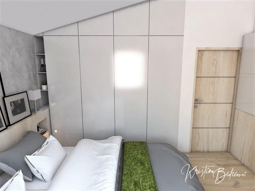 Návrh interiéru spálne Zelené sny, ďalší pohľad na manželskú posteľ a šatníkovú skriňu