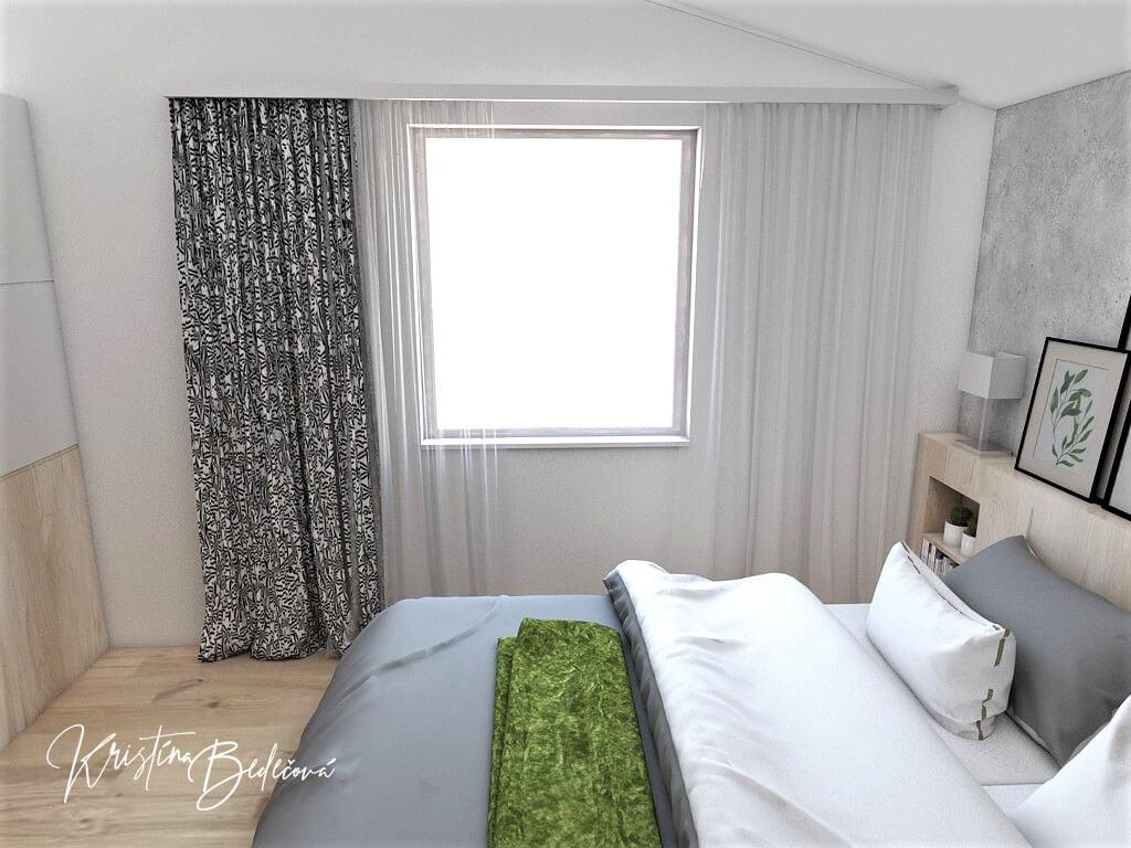 Návrh interiéru spálne Zelené sny, ďalší pohľad na okno
