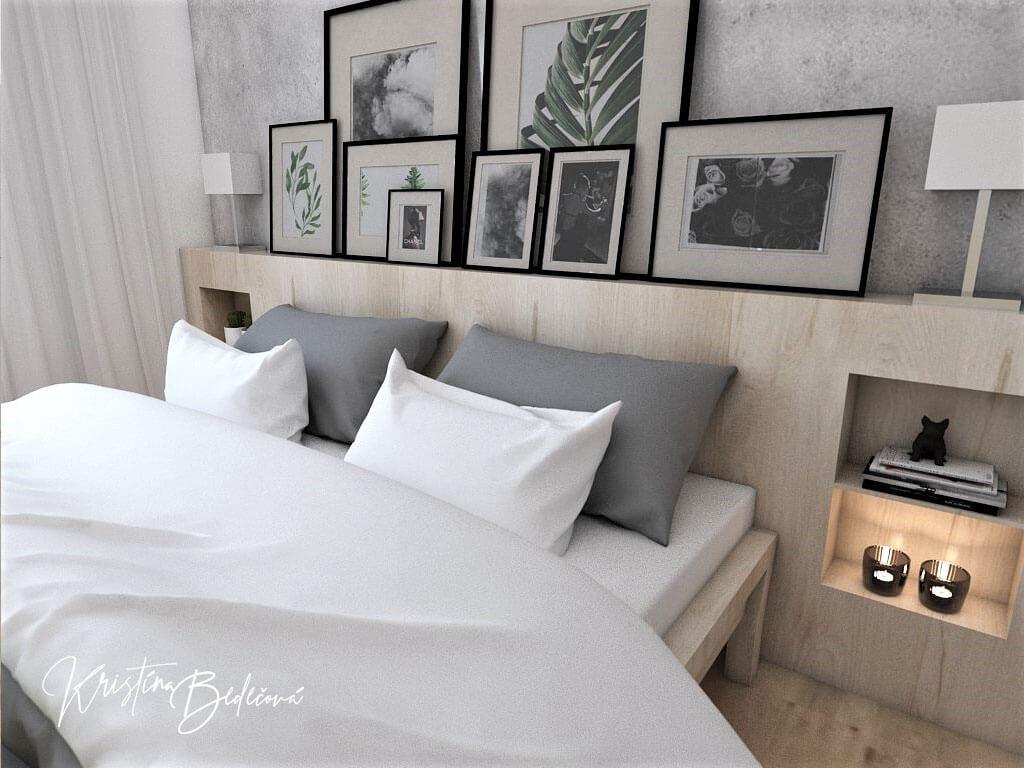 Návrh interiéru spálne Zelené sny, ďalší pohľad na čelo manželskej postele