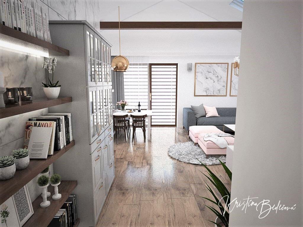 Návrh kuchyne s obývačkou Mramorové pohladenie, pohľad zo vstupu do dennej zóny