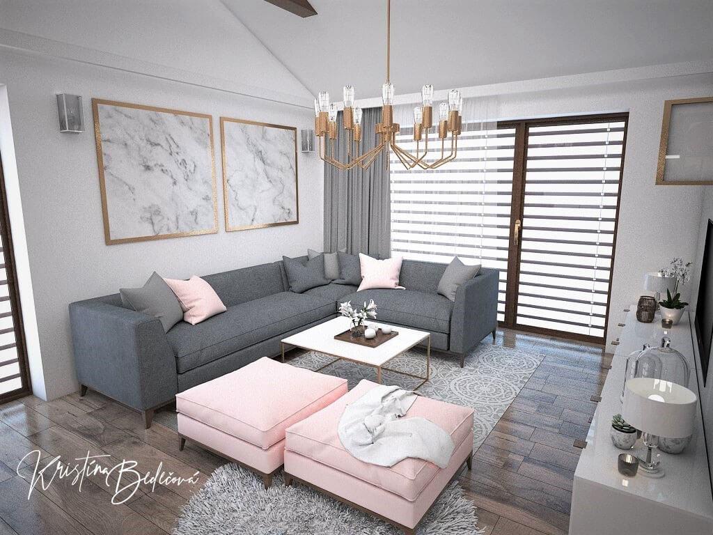 Návrh kuchyne s obývačkou Mramorové pohladenie, pohľad na sedačku