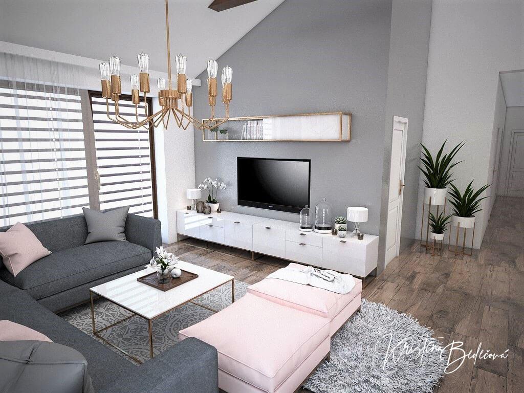 Návrh kuchyne s obývačkou Mramorové pohladenie, pohľad na televízor