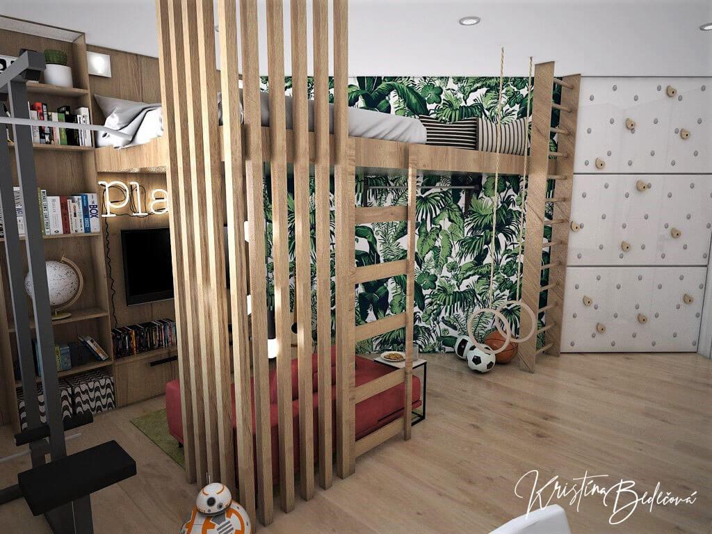 Návrh detskej Chlapčenská džungla, pohľad na vyvýšenú posteľ