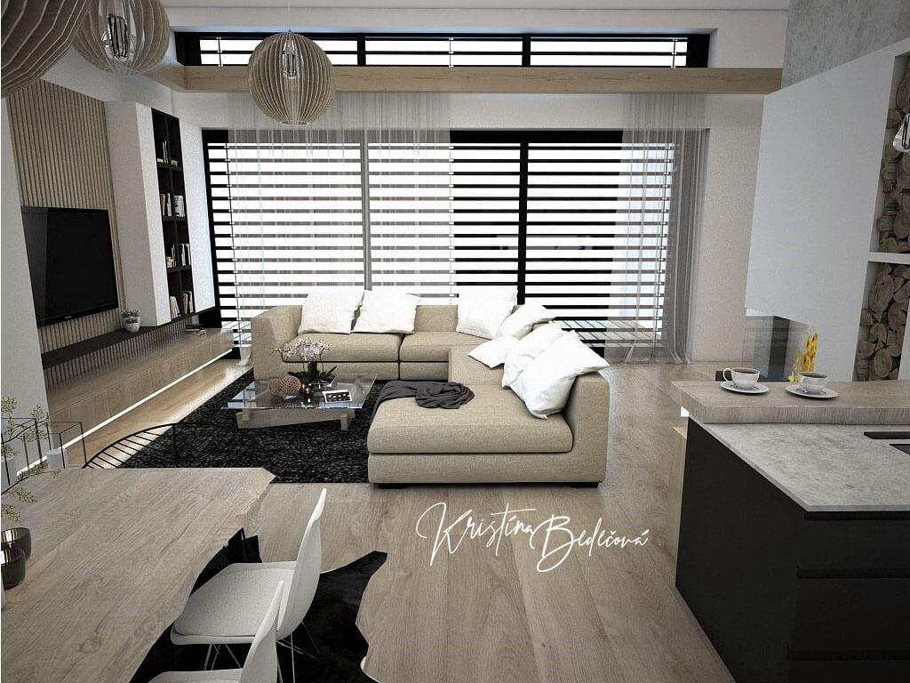 Návrh obývačky s kuchyňou Prírodné prvky v interiéri, pohľad na jedálenský stôl na veľké okná