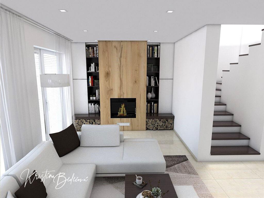 Návrh interiéru obývačky Úzka ale praktická, pohľad na krb a schodisko