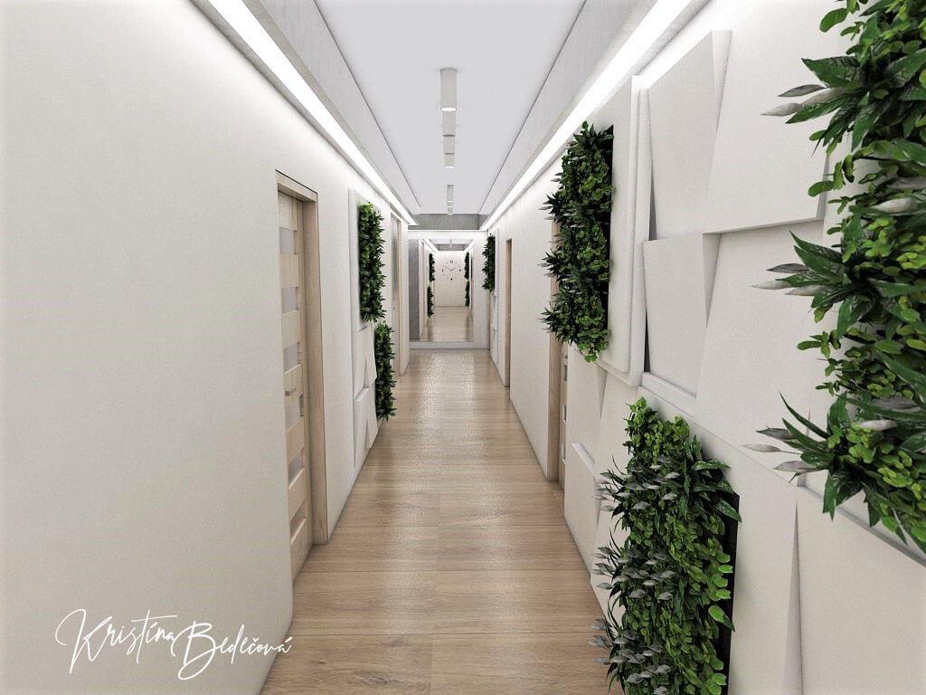 Návrh interiéru vstupnej chodby Vitajte, pohľad na celú prechodovú chodbu