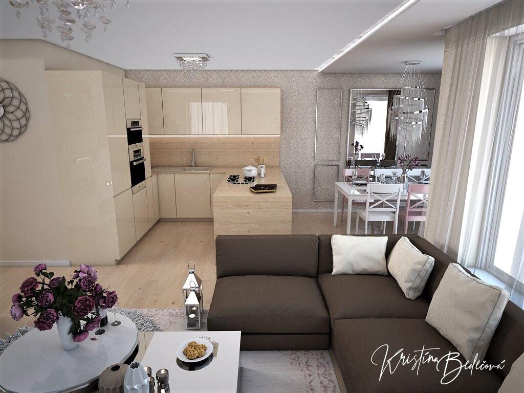 Návrh interiéru bytu Romantika v akcii, pohľad z obývačky do kuchyne