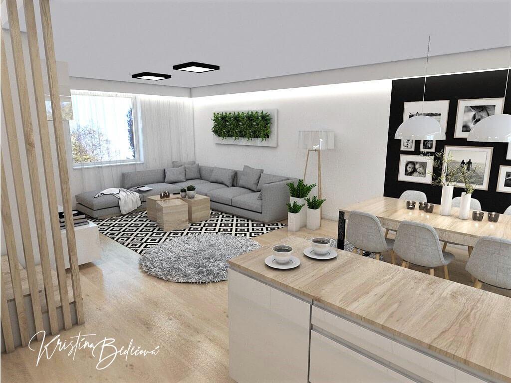 Interiérový návrh kuchyne s obývačkou Po schodoch, pohľad z rohu kuchynskej linky do obývačky