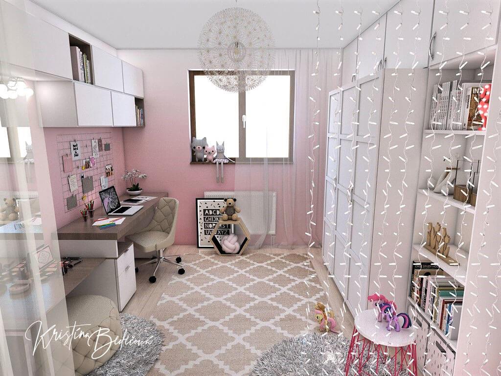 Návrh detskej izby Ombre stenám pristane, pohľad od postele