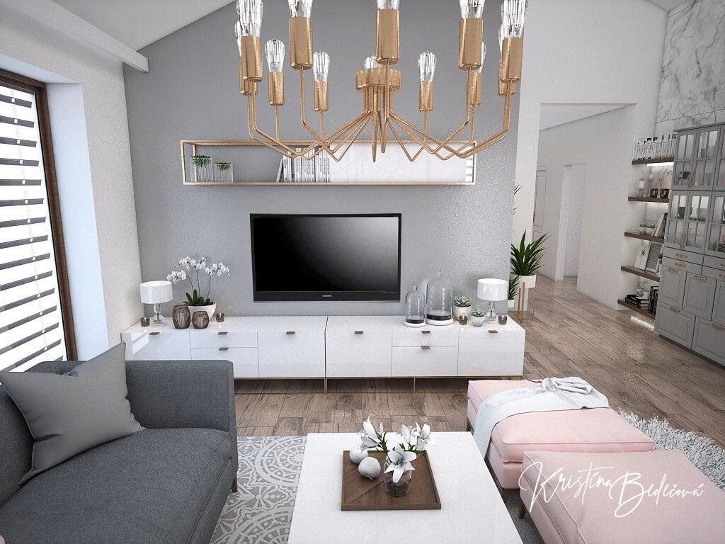 Návrh kuchyne s obývačkou Mramorové pohladenie, ďalší pohľad na televízor
