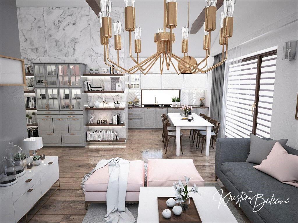 Návrh kuchyne s obývačkou Mramorové pohladenie, pohľad na kuchyňu a jedálenský stôl