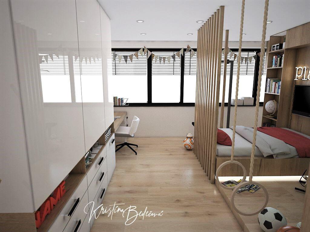 Návrh detskej Chlapčenská džungla, pohľad na okno izby