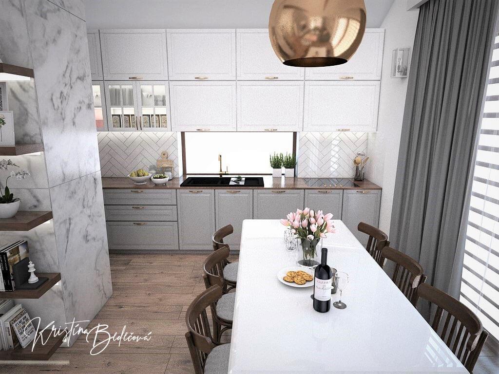 Návrh kuchyne s obývačkou Mramorové pohladenie, pohľad od jedálenského stola