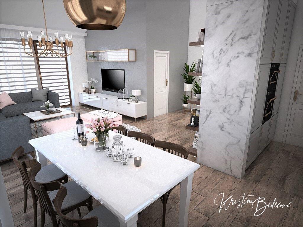 Návrh kuchyne s obývačkou Mramorové pohladenie, pohľad z jedálenského stolu