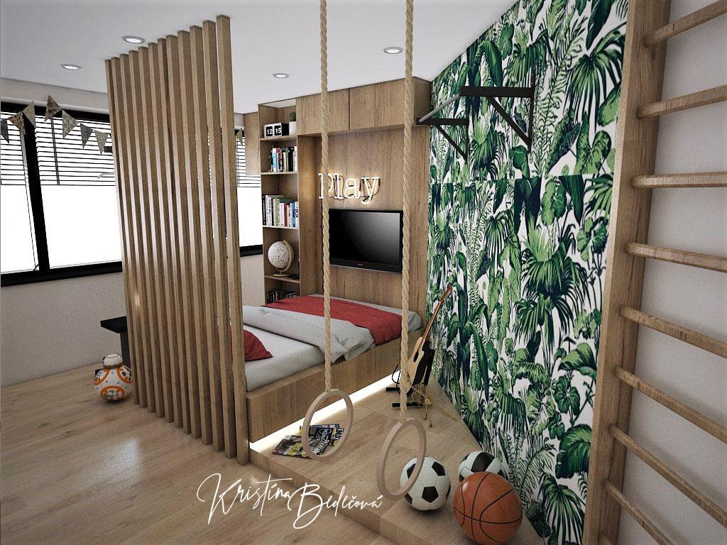 Návrh detskej Chlapčenská džungla -alternatíva, pohľad jednoduchú posteľ