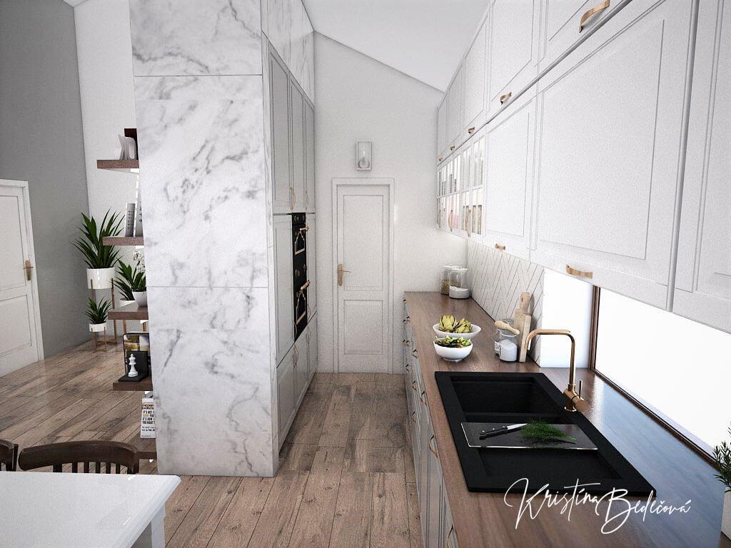 Návrh kuchyne s obývačkou Mramorové pohladenie, pohľad z kuchyne