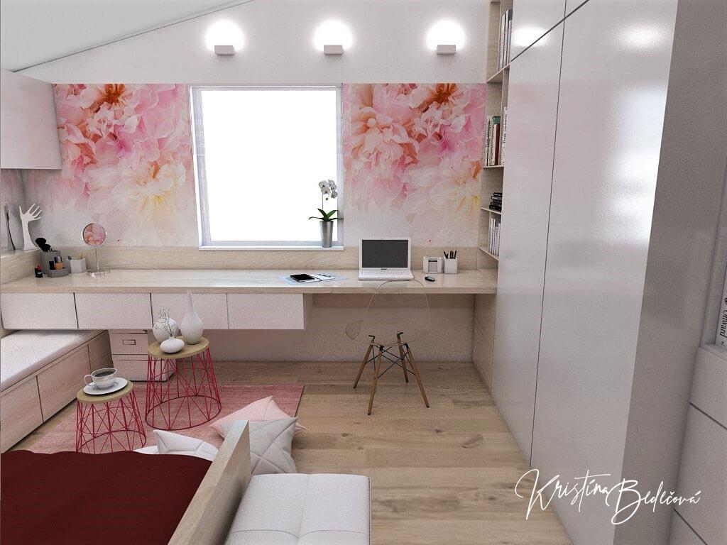 Návrh detskej izby Keď sny rozkvitnú, pohľad na pracovný stolík