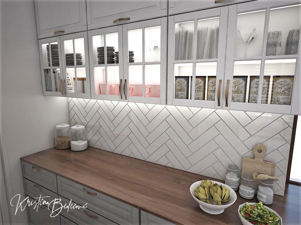 Návrh kuchyne s obývačkou Mramorové pohladenie, pohľad na časť kuchynskej linky