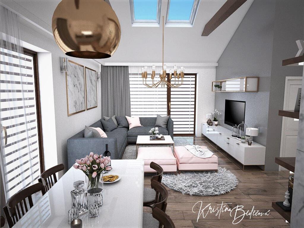 Návrh kuchyne s obývačkou Mramorové pohladenie, pohľad od jedálenského stolu do obývačky