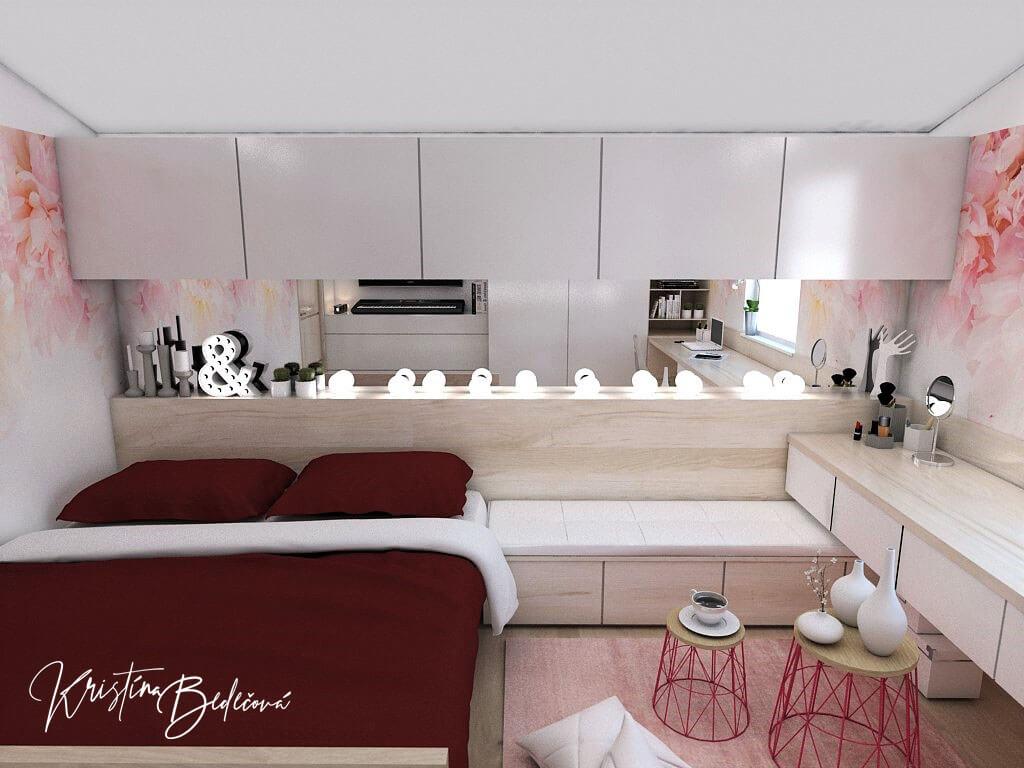 Návrh detskej izby Keď sny rozkvitnú, pohľad na skrinky nad posteľou