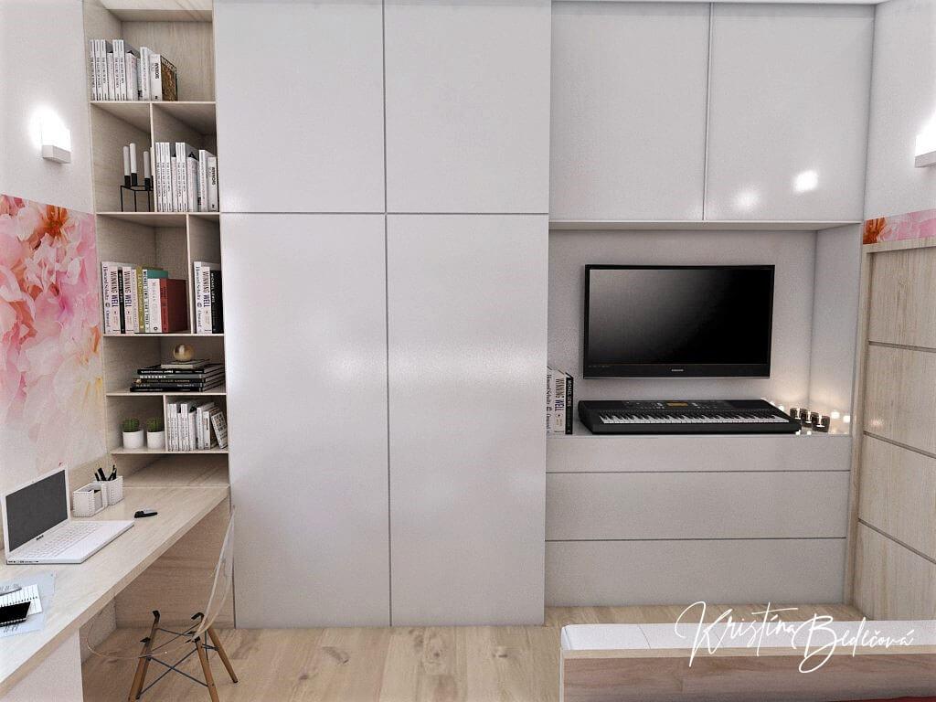 Návrh detskej izby Keď sny rozkvitnú, pohľad na skrinku s televízorom