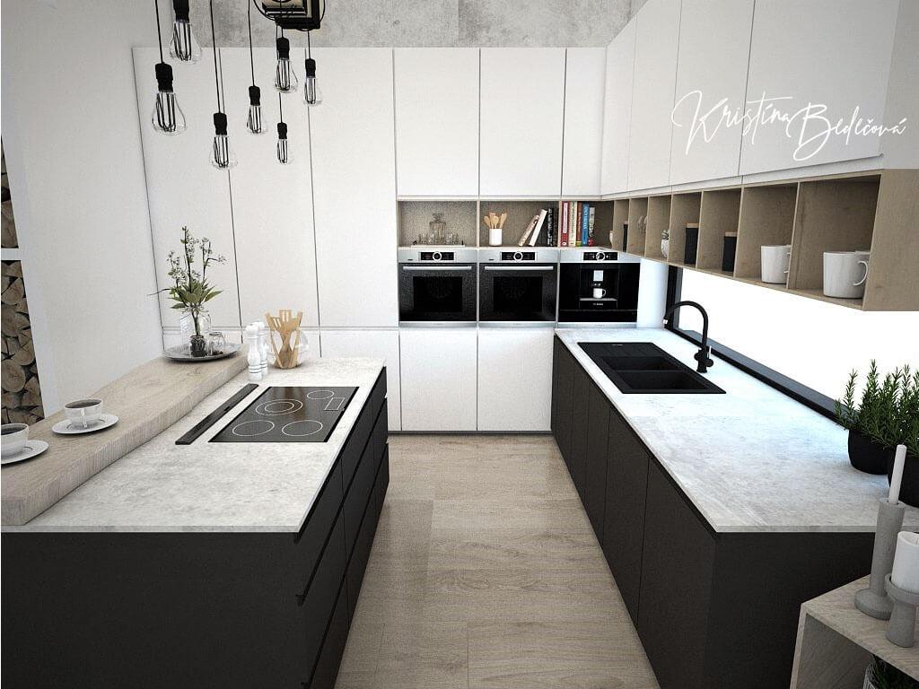 Návrh obývačky s kuchyňou Prírodné prvky v interiéri, pohľad na kuchynskú linku