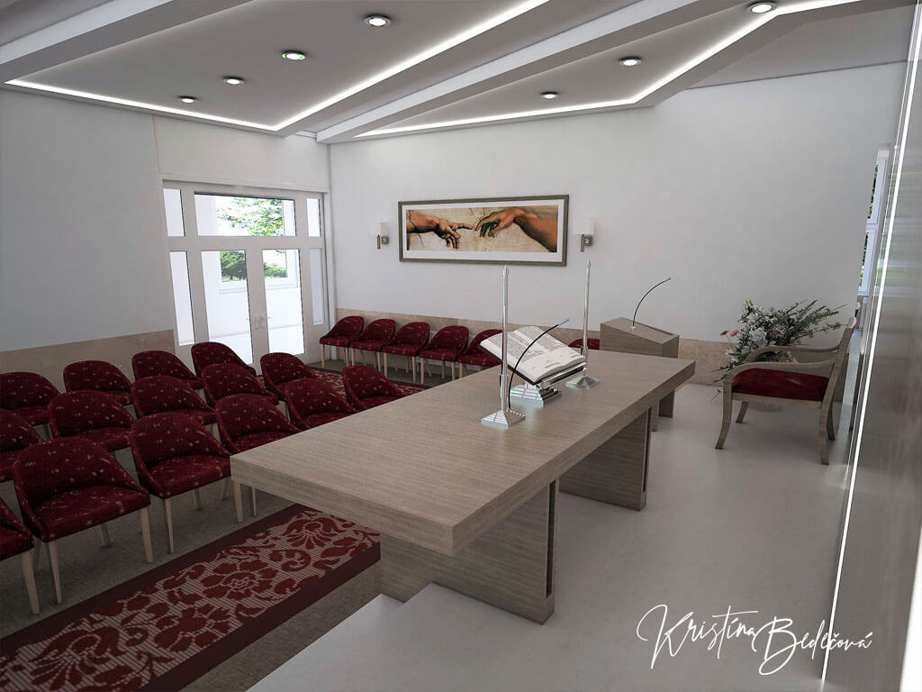 Návrh interiéru kaplnky Moderná kaplnka, ďalší pohľad na vstup